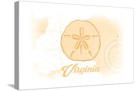 Virginia - Sand Dollar - Yellow - Coastal Icon-Lantern Press-Stretched Canvas Print