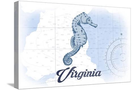 Virginia - Seahorse - Blue - Coastal Icon-Lantern Press-Stretched Canvas Print