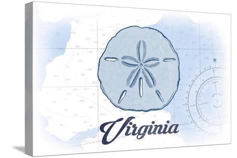 Virginia - Sand Dollar - Blue - Coastal Icon-Lantern Press-Stretched Canvas Print