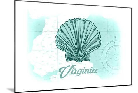 Virginia - Scallop Shell - Teal - Coastal Icon-Lantern Press-Mounted Art Print