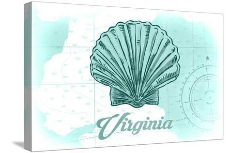 Virginia - Scallop Shell - Teal - Coastal Icon-Lantern Press-Stretched Canvas Print