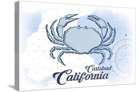 Carlsbad, California - Crab - Blue - Coastal Icon-Lantern Press-Stretched Canvas Print
