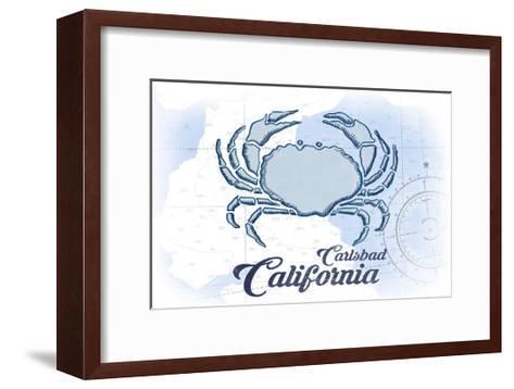 Carlsbad, California - Crab - Blue - Coastal Icon-Lantern Press-Framed Art Print