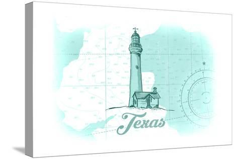 Texas - Lighthouse - Teal - Coastal Icon-Lantern Press-Stretched Canvas Print