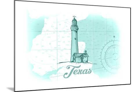 Texas - Lighthouse - Teal - Coastal Icon-Lantern Press-Mounted Art Print