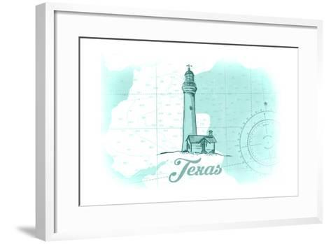 Texas - Lighthouse - Teal - Coastal Icon-Lantern Press-Framed Art Print