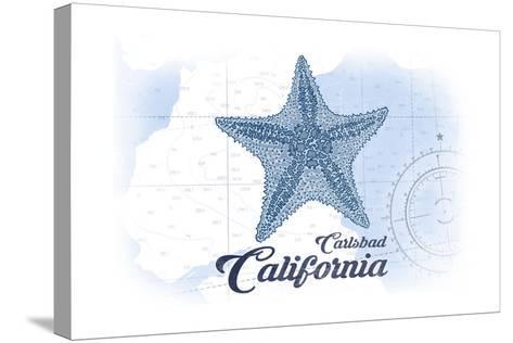 Carlsbad, California - Starfish - Blue - Coastal Icon-Lantern Press-Stretched Canvas Print