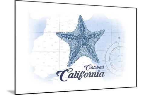 Carlsbad, California - Starfish - Blue - Coastal Icon-Lantern Press-Mounted Art Print