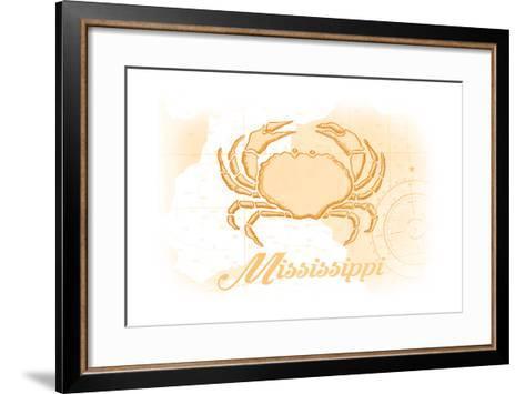 Mississippi - Crab - Yellow - Coastal Icon-Lantern Press-Framed Art Print