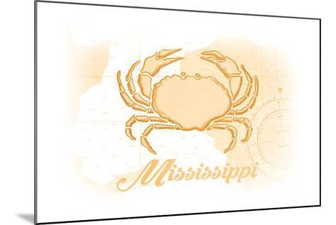 Mississippi - Crab - Yellow - Coastal Icon-Lantern Press-Mounted Art Print