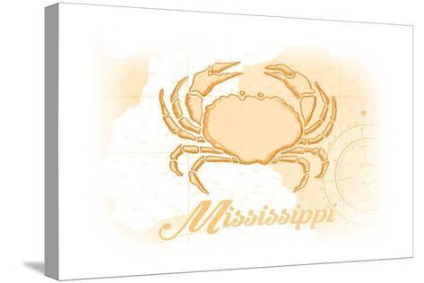 Mississippi - Crab - Yellow - Coastal Icon-Lantern Press-Stretched Canvas Print