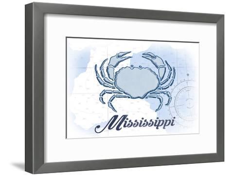 Mississippi - Crab - Blue - Coastal Icon-Lantern Press-Framed Art Print