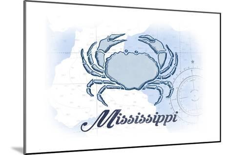 Mississippi - Crab - Blue - Coastal Icon-Lantern Press-Mounted Art Print