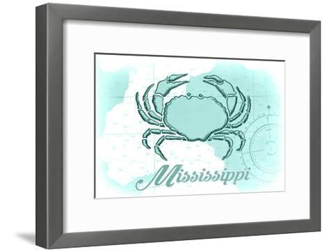 Mississippi - Crab - Teal - Coastal Icon-Lantern Press-Framed Art Print