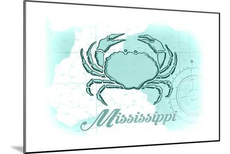 Mississippi - Crab - Teal - Coastal Icon-Lantern Press-Mounted Art Print