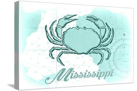 Mississippi - Crab - Teal - Coastal Icon-Lantern Press-Stretched Canvas Print