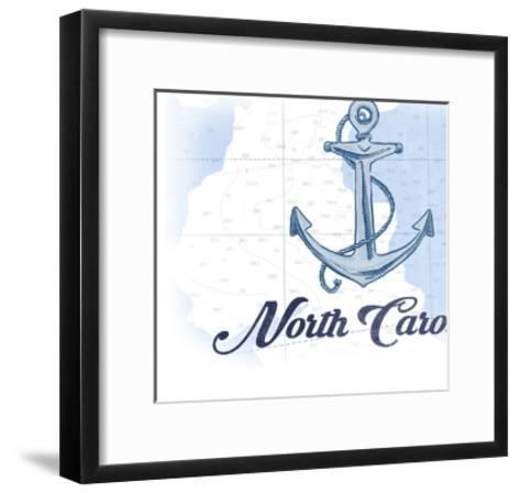 North Carolina - Anchor - Blue - Coastal Icon-Lantern Press-Framed Art Print