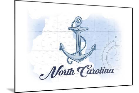 North Carolina - Anchor - Blue - Coastal Icon-Lantern Press-Mounted Art Print