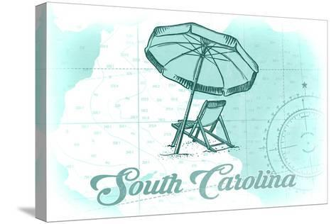 South Carolina - Beach Chair and Umbrella - Teal - Coastal Icon-Lantern Press-Stretched Canvas Print