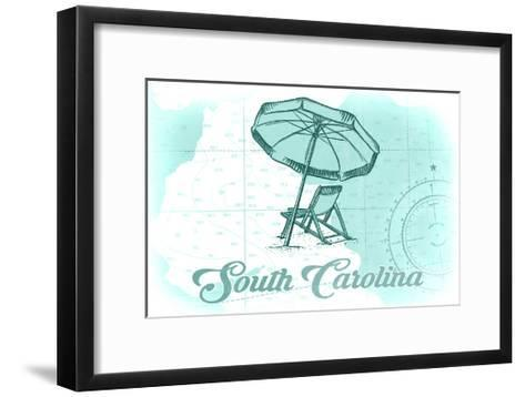 South Carolina - Beach Chair and Umbrella - Teal - Coastal Icon-Lantern Press-Framed Art Print
