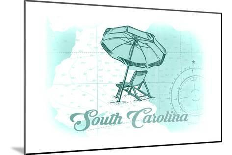South Carolina - Beach Chair and Umbrella - Teal - Coastal Icon-Lantern Press-Mounted Art Print