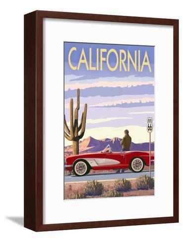 California - Route 66 - Corvette-Lantern Press-Framed Art Print