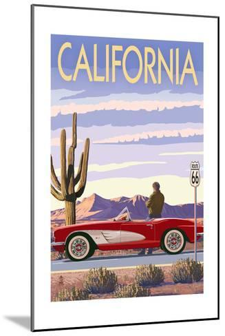 California - Route 66 - Corvette-Lantern Press-Mounted Art Print