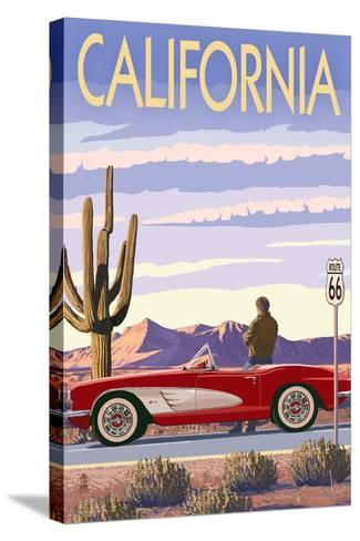 California - Route 66 - Corvette-Lantern Press-Stretched Canvas Print