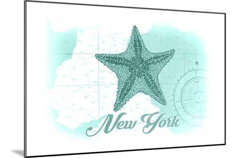 New York - Starfish - Teal - Coastal Icon-Lantern Press-Mounted Art Print