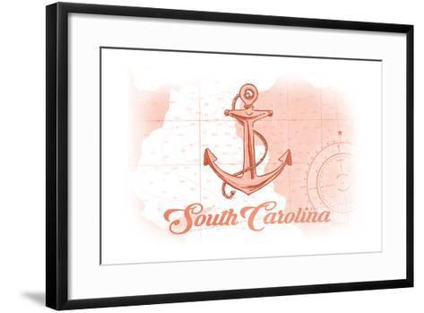 South Carolina - Anchor - Coral - Coastal Icon-Lantern Press-Framed Art Print