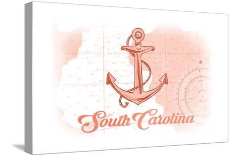 South Carolina - Anchor - Coral - Coastal Icon-Lantern Press-Stretched Canvas Print