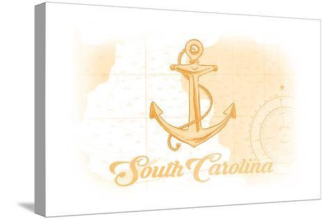 South Carolina - Anchor - Yellow - Coastal Icon-Lantern Press-Stretched Canvas Print