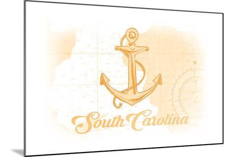South Carolina - Anchor - Yellow - Coastal Icon-Lantern Press-Mounted Art Print