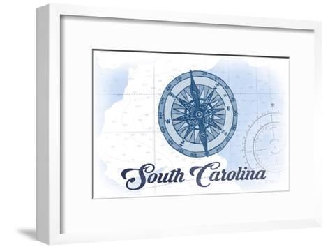 South Carolina - Compass - Blue - Coastal Icon-Lantern Press-Framed Art Print