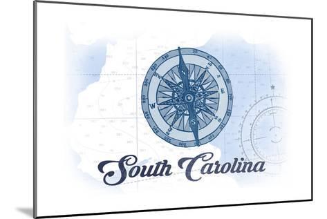 South Carolina - Compass - Blue - Coastal Icon-Lantern Press-Mounted Art Print