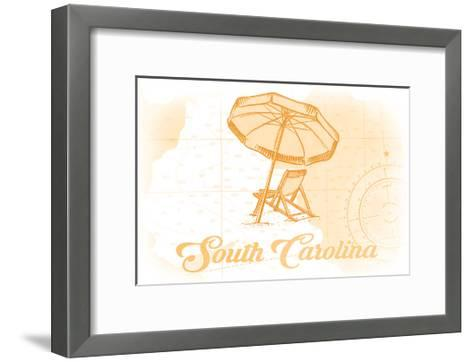 South Carolina - Beach Chair and Umbrella - Yellow - Coastal Icon-Lantern Press-Framed Art Print