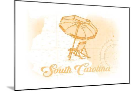 South Carolina - Beach Chair and Umbrella - Yellow - Coastal Icon-Lantern Press-Mounted Art Print