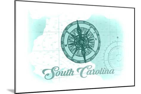 South Carolina - Compass - Teal - Coastal Icon-Lantern Press-Mounted Art Print