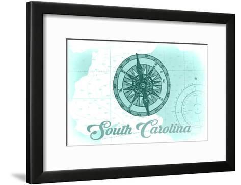 South Carolina - Compass - Teal - Coastal Icon-Lantern Press-Framed Art Print
