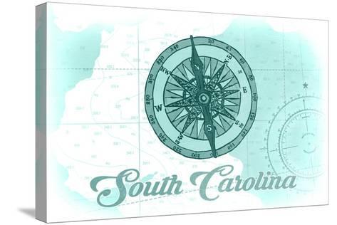 South Carolina - Compass - Teal - Coastal Icon-Lantern Press-Stretched Canvas Print