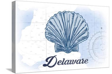Delaware - Scallop Shell - Blue - Coastal Icon-Lantern Press-Stretched Canvas Print
