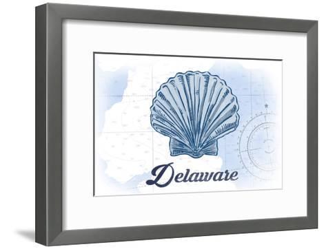 Delaware - Scallop Shell - Blue - Coastal Icon-Lantern Press-Framed Art Print
