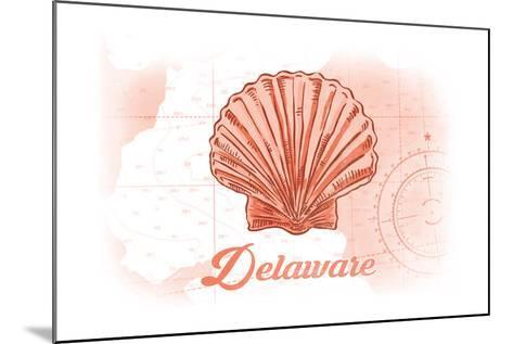 Delaware - Scallop Shell - Coral - Coastal Icon-Lantern Press-Mounted Art Print
