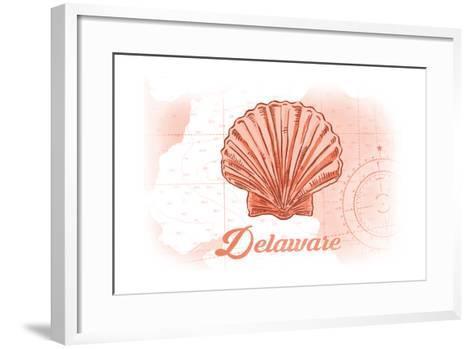 Delaware - Scallop Shell - Coral - Coastal Icon-Lantern Press-Framed Art Print