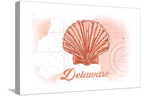 Delaware - Scallop Shell - Coral - Coastal Icon-Lantern Press-Stretched Canvas Print