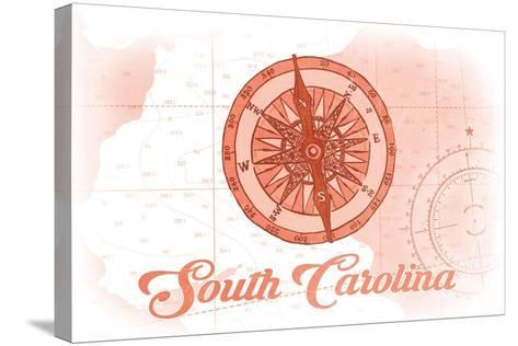 South Carolina - Compass - Coral - Coastal Icon-Lantern Press-Stretched Canvas Print