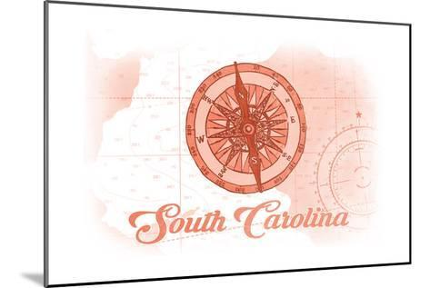 South Carolina - Compass - Coral - Coastal Icon-Lantern Press-Mounted Art Print