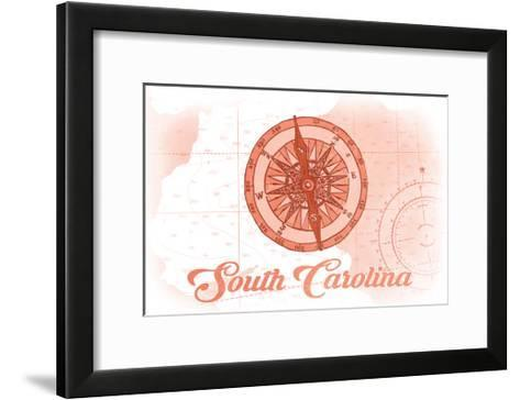 South Carolina - Compass - Coral - Coastal Icon-Lantern Press-Framed Art Print