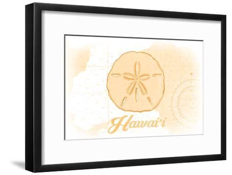 Hawaii - Sand Dollar - Yellow - Coastal Icon-Lantern Press-Framed Art Print
