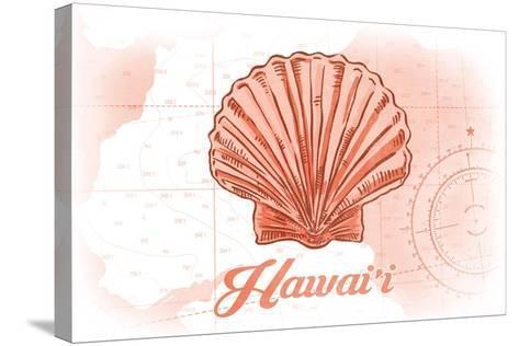 Hawaii - Scallop Shell - Coral - Coastal Icon-Lantern Press-Stretched Canvas Print